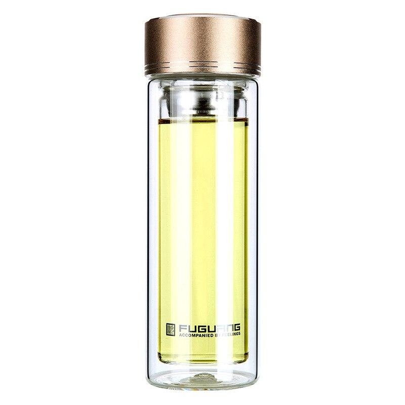 240 ml 350 ml 420 ml 뚜껑 Drinkware 더블 벽 물 병 뚜껑을 가진 휴대용 간략 한 더블 레이어 투명한 물 유리