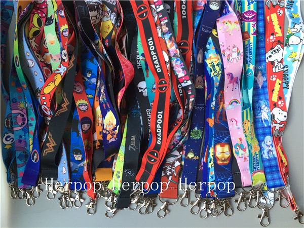 1000Pcs Japanese anime mix cartoon women kids lovely Neck Straps Lanyards Mobile Phone ID Card Key