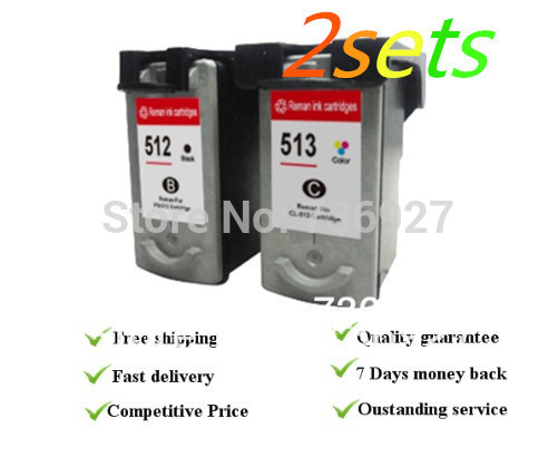 ФОТО 2 sets Remanufactured for Canon PG512 CL513  ink cartridges, for  Pixma iP2700/MP240/MP250/MP260 /MP270/MP280/MP480/MP490