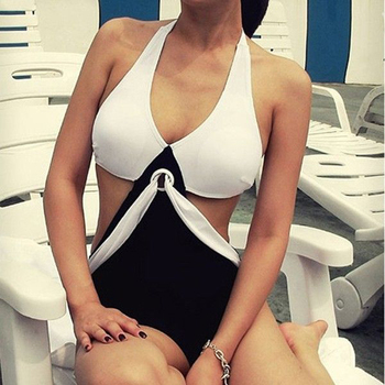 Triangle Black White Joint Color Padded Jumpsuits 2017 Sexy Women Swimsuits Creative Patchwork One-piece Bikini Bathing Suit