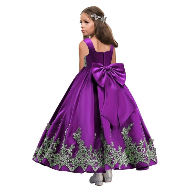 bf15493b6c9dd Bleu Royal fleur fille robes 2019 appliqué Cutton enfants robes de soirée  robe de bal robes