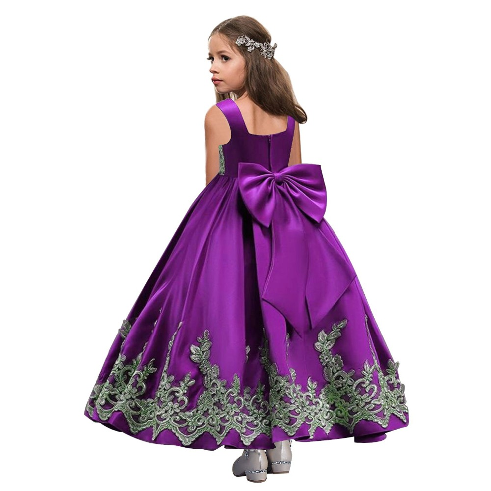 Royal Blue   Flower     Girl     Dresses   2019 Appliqued Cutton Kids Evening Gowns Prom   Dress   Pageant   Dresses   robe enfant fille mariage