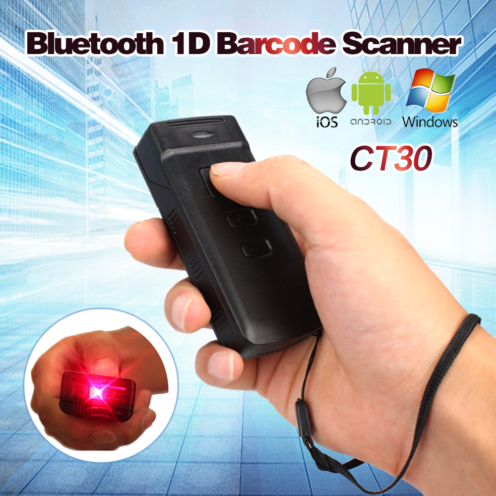 Blueskysea Updated Mini CT30 Wireless Bluetooth Barcode Scanner for IOS 6 Plus Android Windows