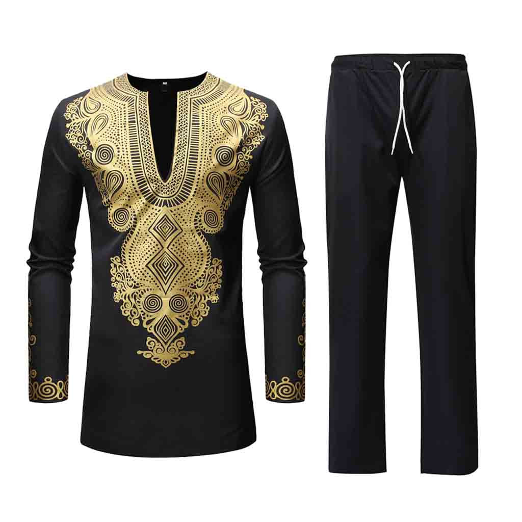 Men Long Sleeve Winter Luxury African Print Pant Set Summer Dashiki Shirt and Pants 2 Piece Set 7.10(China)