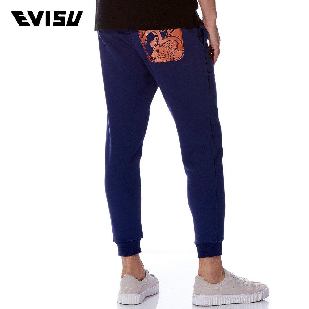 EVISU 2018 Men's Sweatpants Comfortable Cotton Casual Long Pants Men Funny Printed Dark Blue Trousers Evergreen