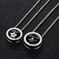 Бесплатная доставка Оптовая продажа нержавеющей стали Цепочки и ожерелья с круг Mini Star внутри, пригодный для пара влюбленных