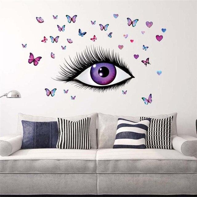US $4.0 19% di SCONTO|50*70 cm Bella Eye Farfalle PVC DIY 3D Stickers Da  Parete per Soggiorno camera Da Letto Cucina Decalcomania di Arte Sfondi ...