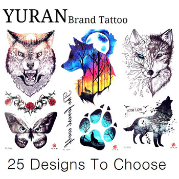 Tribal Watercolor Moon Wolf Butterfly Cat Paw Claw Women Temporary Tattoo Sticker Kids Watercolor Tattoo Men Feet Tatoo Arm Girl