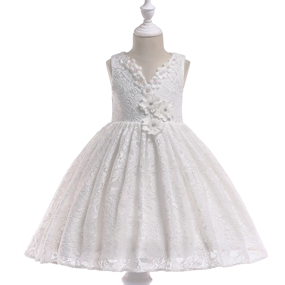 2019   Flower     Girl     Dresses   For Weddings Ball Gown Cap Sleeves Tulle Bow Lace First Communion   Dresses   For Little   Girls