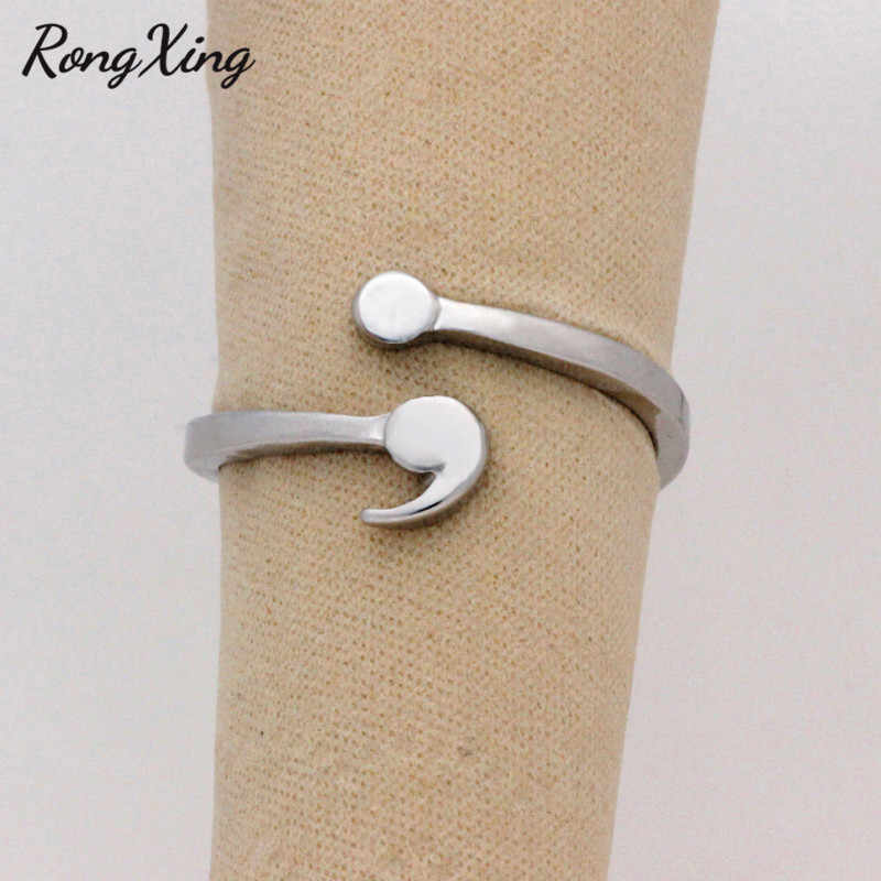 RongXing Creative Semicolon Design Opening Wave Rings For Women Men Silver Color Inspirational Jewelry Graduate Gifts For Lover