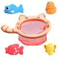 1 Conjuntos Brinquedos De Pesca Rede Bag Pick up Duck & Abelha Fish & Crianças Aulas de Natação Brinquedo Jogo do Verão Água Brinquedo de Banho
