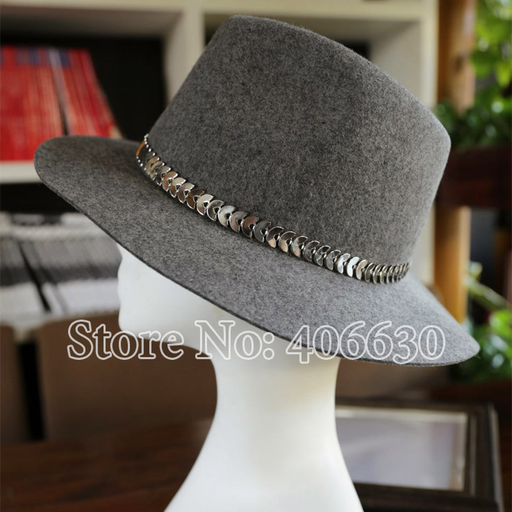 High Quality Winter Fashion Metal Chain Wide Brim Wool Fedoras Women Chapeu Femino Felt Hats Grey PWFE060 in Women 39 s Fedoras from Apparel Accessories