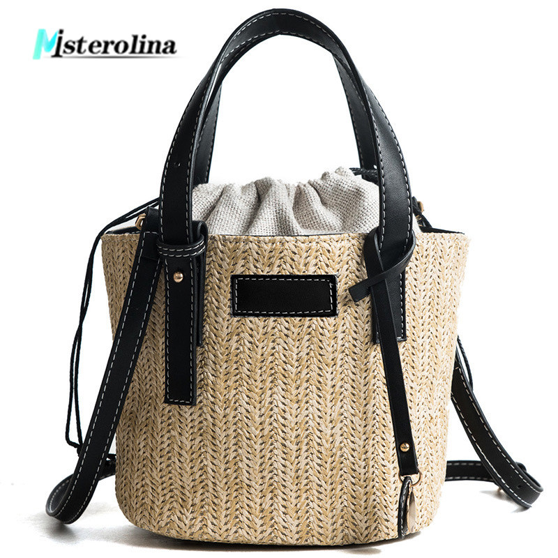Larger Bucket Straw National Woven Composite Bags String Design Braid Totes Shoulder Handbags