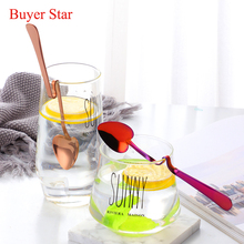 4pcs Stainless Steel Coffee Spoon Creative Dessert Hanging Cup Spoons Tableware Kitchen Utensils 4 Colors