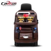 PU Leather Car Seat Back Organizer Auto Seat Hanging Cover Storage Bag Multi Pocket Tray Travel Anti Kick Protection Pad Kids