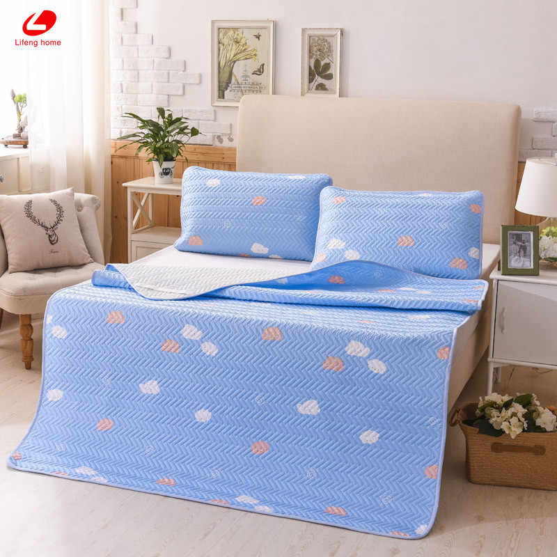 Lifeng дома зеленое облако Летний спальный Коврики cool кровать Коврики мягкие простыня встроенная защита Pad 4 углу с резиновой простыней комплект