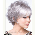 2016 Very Short Hairstyles For Older Women synthetic Curly hair wig Hairpiece Gray Blonde woman wig Peruque afro free shipping