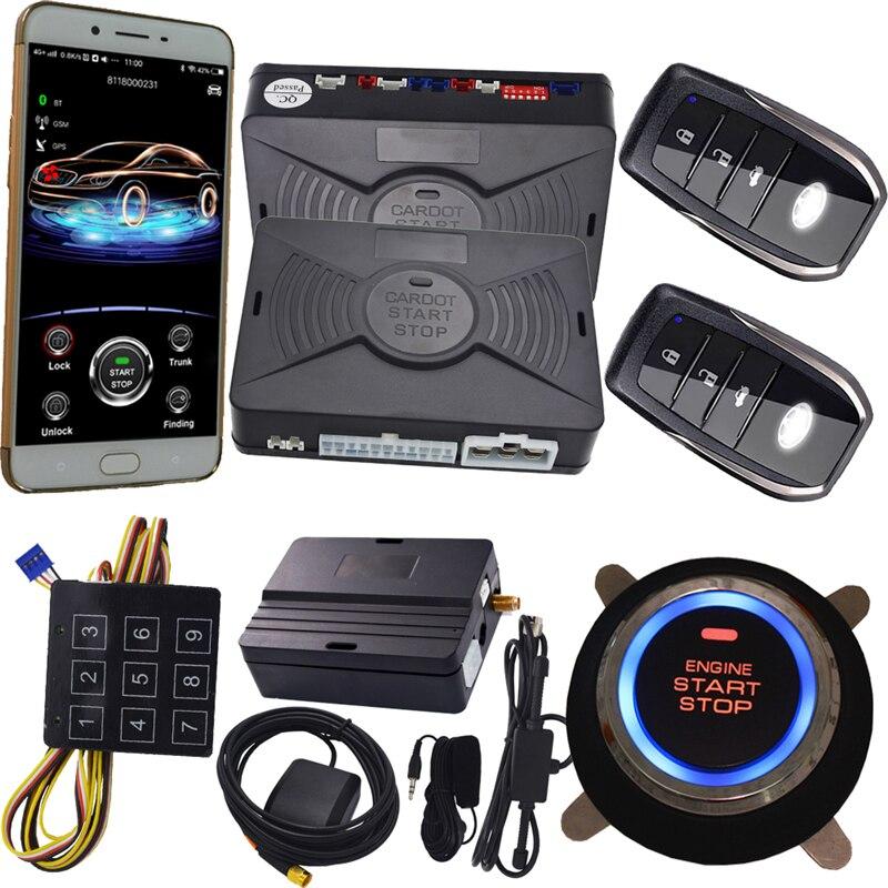 Cardot 2g nouveau gps bluetooth système d'alarme de voiture à Bouton-Poussoir Démarrage Sans Clé D'entrée Démarreur À Distance Cesser de soutenir iphone et android