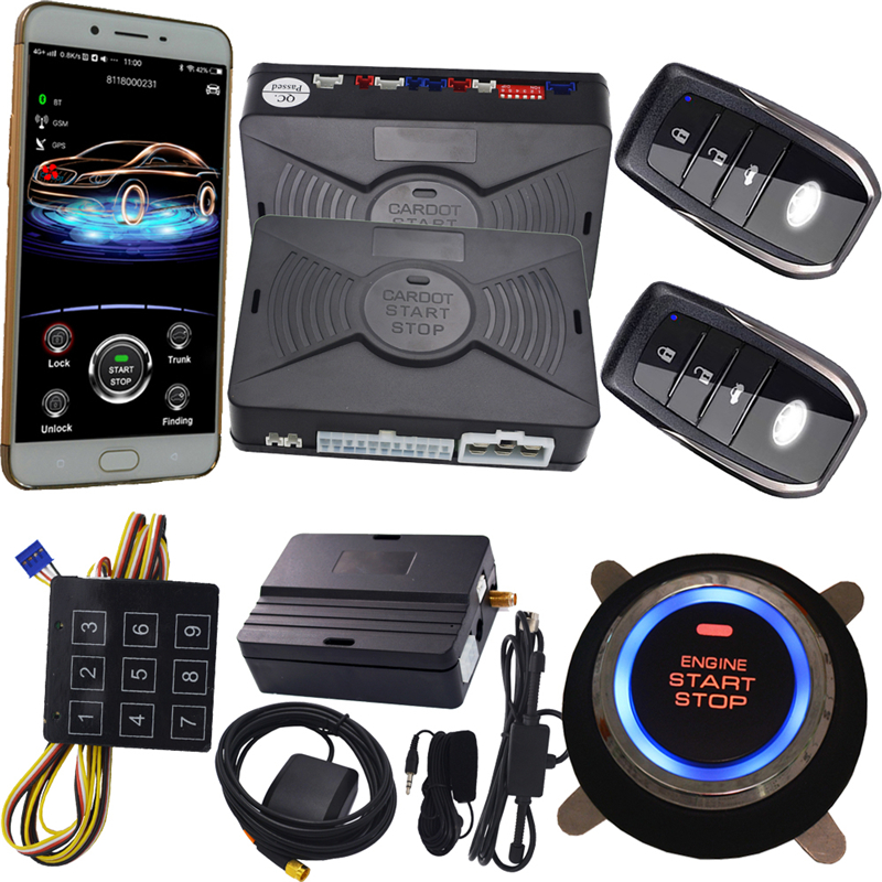cardot new gps car alarm system Push Button Start Keyless Entry Remote Starter Stop supporting android and ios system