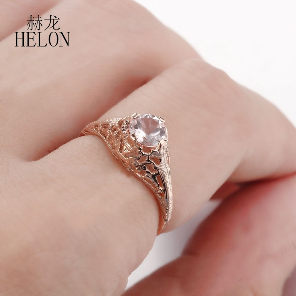 HELON SOLID 10K ROSE GOLD 5.5MM ROUND Morganite ENGAGEMENT WEDDING ...