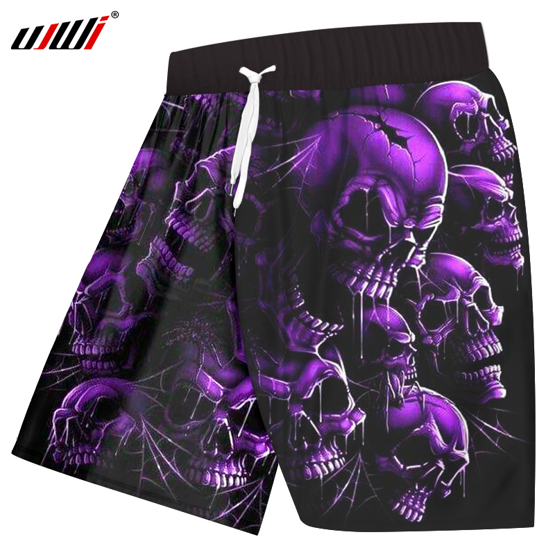 Ujwi Board Shorts Men Quick Dry Polyester Cool Print Purple Broken Skull Shorts Casual Mens Hip Hop Streetwear Short Trousers