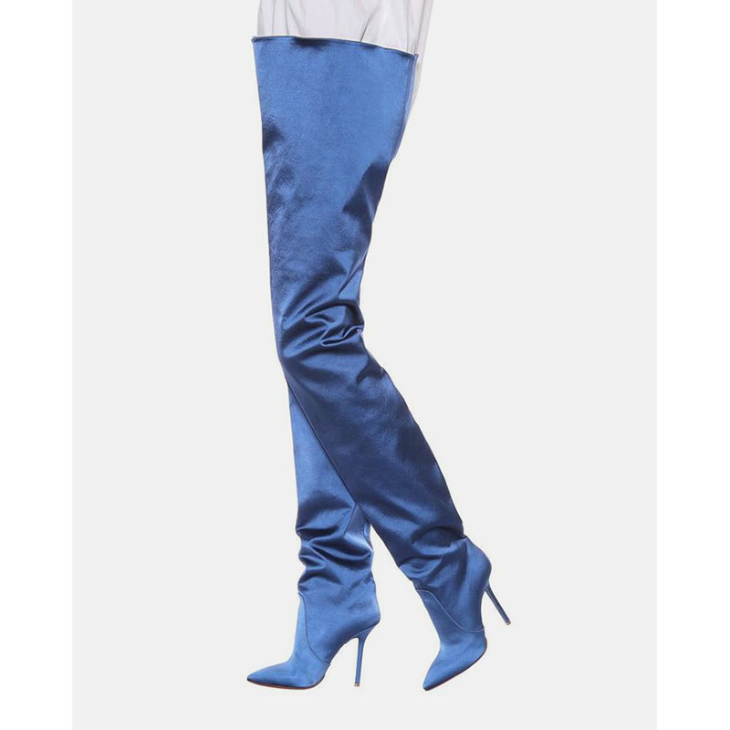 over the knee women Super high heels thigh high pants boots plateau stiefeletten European American long boots silk plus size 48over the knee women Super high heels thigh high pants boots plateau stiefeletten European American long boots silk plus size 48