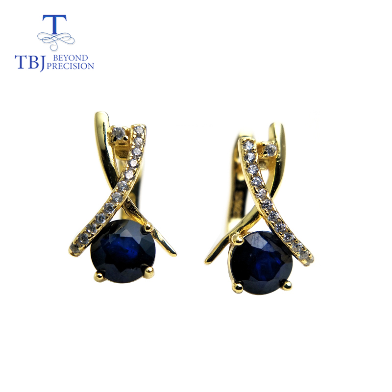 TBJ New design Clasp earring with natural blue sapphire precious gemstone jewelry 925 sterling silver for