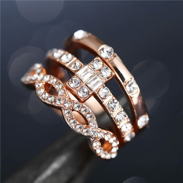 3Pcs/Set Crystal Rings 4