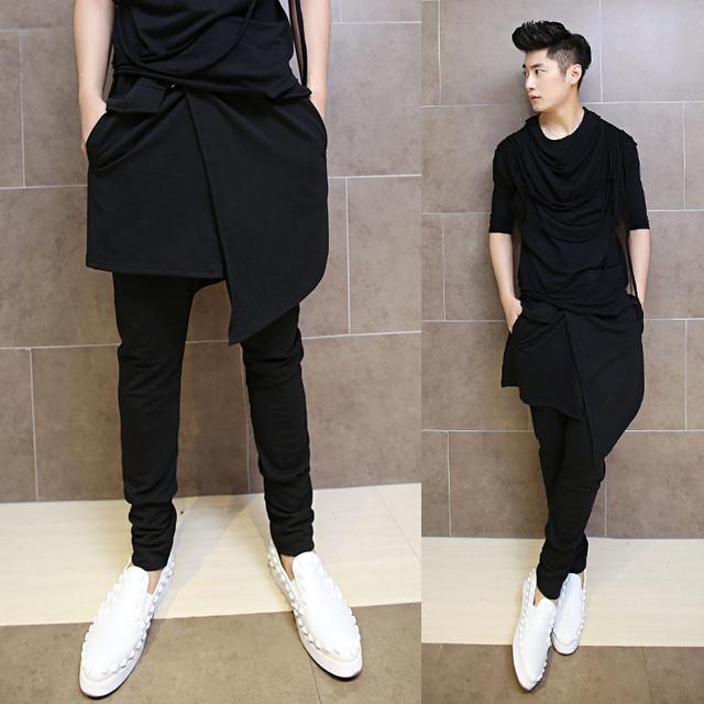 2017 versão coreana do afluxo de homens calças harem calças alternative trajes boate falso de duas peças de baixo-virilha calças