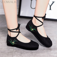 Veowalk Grass Embroidered Women Linen Ballet Flats Cross Ankle Strap  Comfort Shoes for Ladies Woman Canvas aef01c062abf