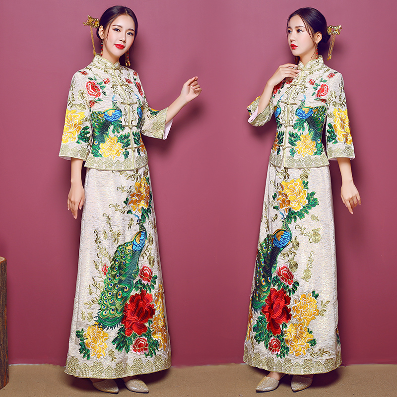 Floral&Peacock Chinese Style Women Cheongsam Ancient Royal Bride Wedding Dress Gown Marriage Suit Embroidery Vintage Qipao