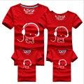 2016 Nova Família Olhar Headset T Camisas 9 Cores de Verão Da Família combinando Roupas Mom & Dad & Son & Filha Trajes Dos Desenhos Animados, qz13