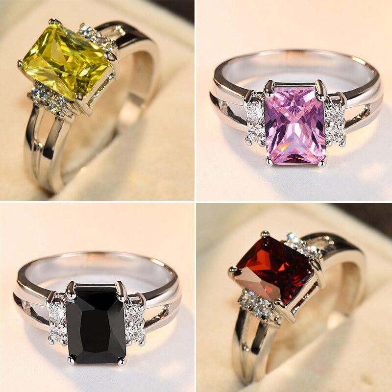 Luxo feminino rosa vermelho amarelo preto anel de pedra moda prata cor casamento jóias cristal promessa noivado anéis para mulher