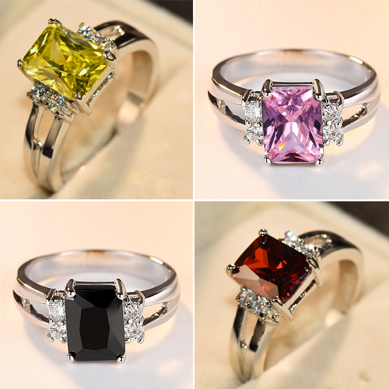 Luxury Female Pink Red Yellow Black Stone Ring Fashion Silver Color Wedding Jewelry Crystal Promise Engagement Rings For Women(China)