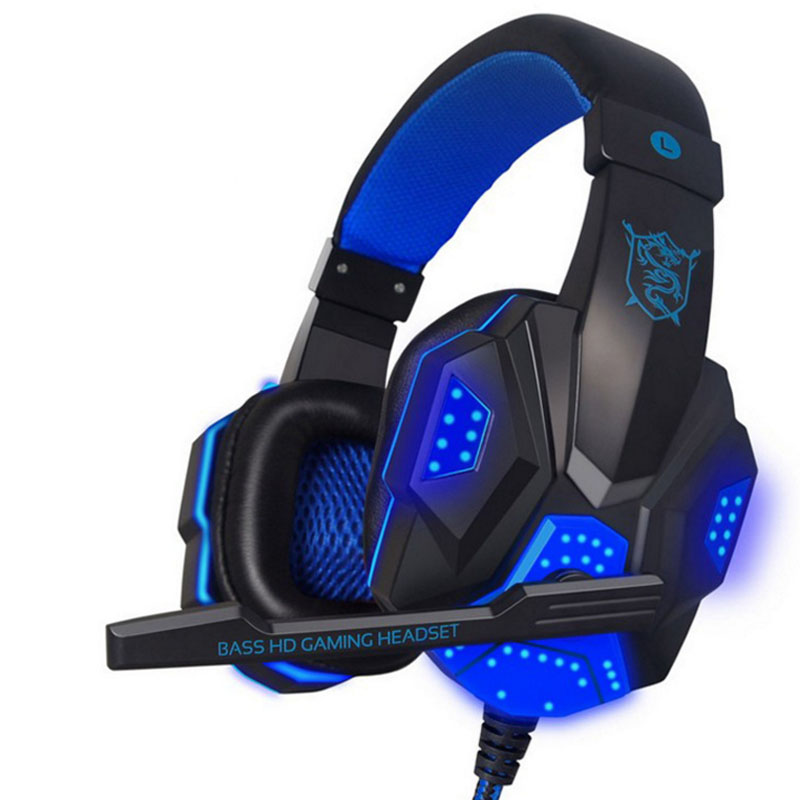 NDJU Deep Bass Gaming Headphone Over-Ear Gamer Headset Headband with MIC Stereo Earphone with Light for Computer PC Gamer