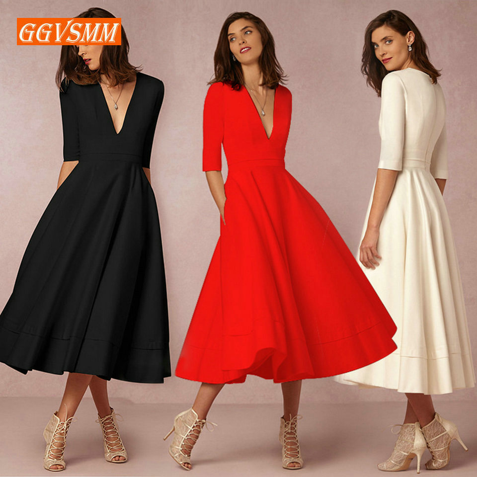 Stylish BOHO Evening Dresses Long Party 2019 Bohemian Evening Gown V-Neck Tea-Length Stretch fabric Women Banquet Formal Dress(China)