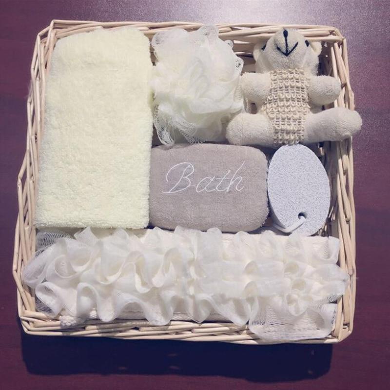 6pcs/set Eco Friendly Women Man Girl Kid Baby Bath Show Spa Set Gift Include Bath Ball Sponge Belt Towel Pumice Stone