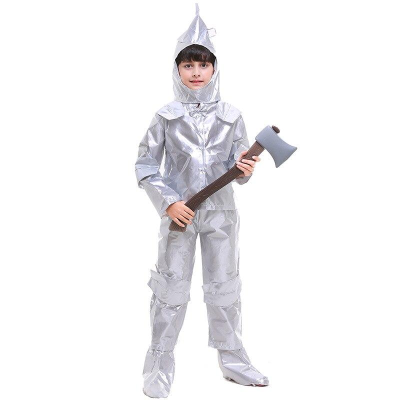 Halloween Children The Wizard of OZ Boy the tin man costume The Tin Woodman of Oz clothing full set