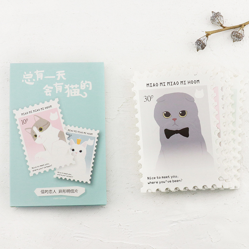 30 Sheets/LOT Miao Mi Cat Postcard /Greeting Card/Wish Card/Christmas And New Year Gifts