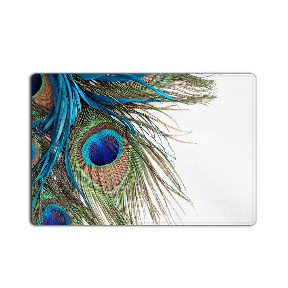Custom Beautiful Peacock Feather Patter Non woven Fabric Doormat ...