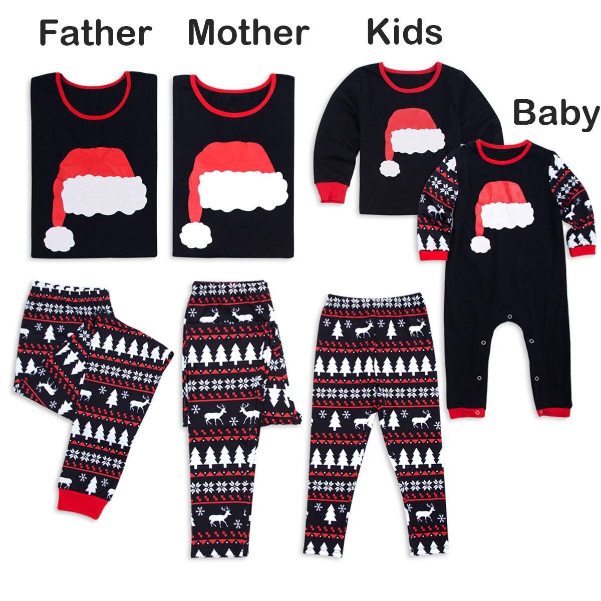 Family Matching Kids Mom Dad Christmas Pajamas PJs Sets Xmas Sleepwear Nightwear