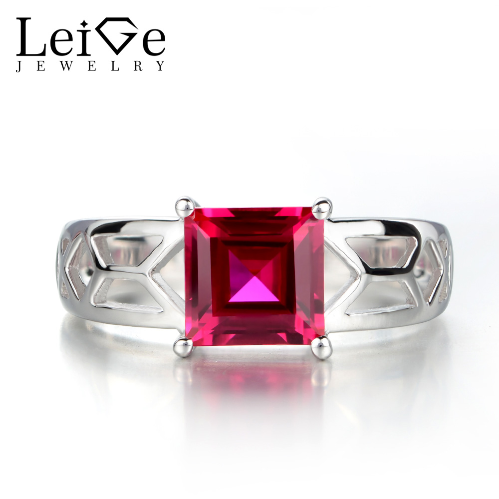 Leige Jewelry Solitaire Rings Square Cut Ruby Rings for Women Wedding Engagement Gemstone Jewelry Sterling Silver 925