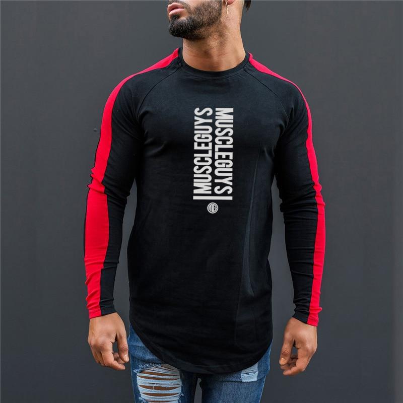 Muscleguys Autumn Mens Cotton Gyms Men   T     shirt   Fitness bodybuilding   shirts   Crossfit male Brand tees long sleeve   t  -  shirt   men