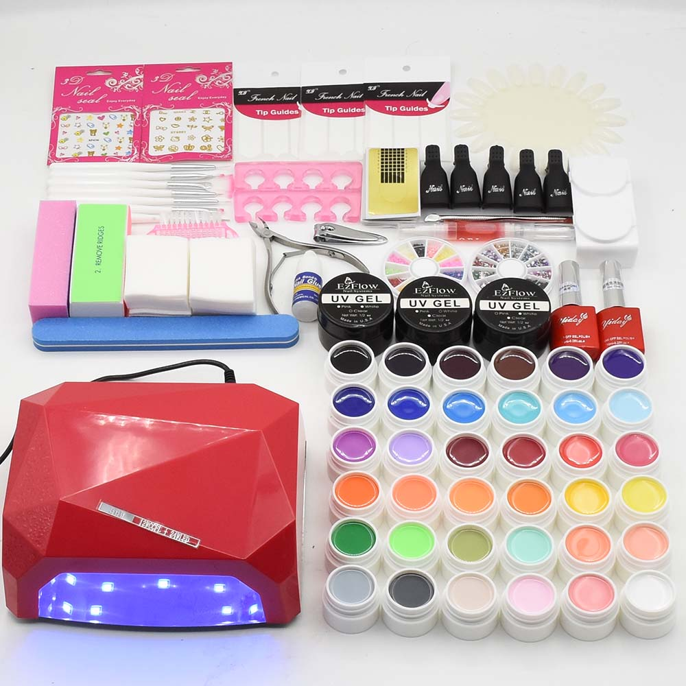 nail art set 36w uv led NAIL lamp dryer & 36 colors UV gel nail polish base gel top coat UV gel builder nail tools kit manicure new pro 48w nail lamp manicure dryer fit uv led builder gel all nail polish nail art tools sun5 professional machine