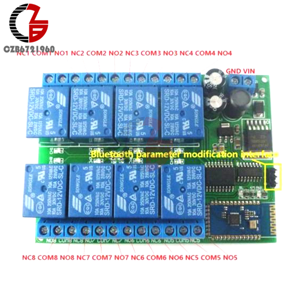 DC 12V 8 Channel Relay Module Bluetooth Wireless Control Switch for Android  Smart Mobile Phone App Control Momentary Interlock