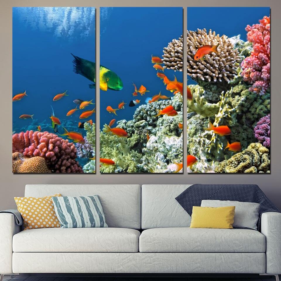 Promotion Hot Sale 3 Panels Canvas Art Tropical Coral Reef