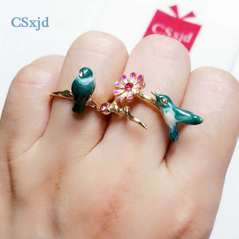 CSxjd Luxury Ring jewelry  Exquisite Romantic Enamel  Blue Color bird Ring