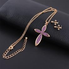 Dlshtmb Brand Cross Pendant Necklace Fashion Colorful Earrings Pendant Jewelry Set for Women