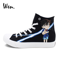 Wen Custom Hand Painted Anime Shoes Canvas Sneakers Unisex Design Detective Conan Painting Kaitou Kiddo Kid