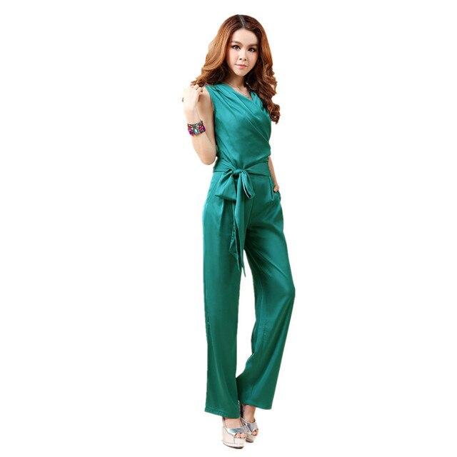 Бесплатная доставка 2016 новый летний пр формальные мода v-образным вырезом комбинезон для женщин шелк элегантный свободного покроя долго брюки черные прямые брюки